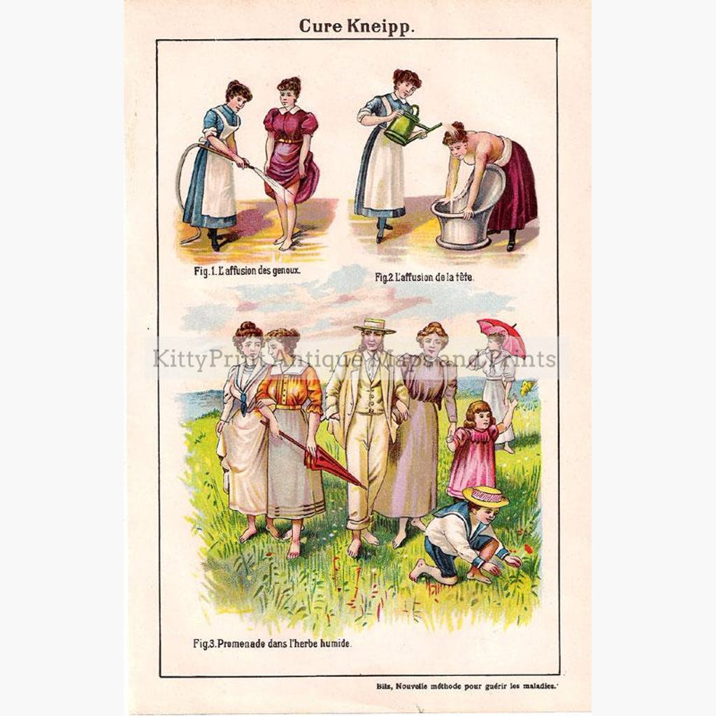 Cure Kneipp 1900. Prints KittyPrint 1900s Anatomy & Medical Costumes & Fashion Genre Scenes