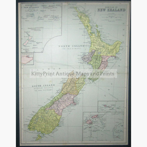 Dominion of New-Zealand 1917 Maps KittyPrint 1900s Australia & Oceania