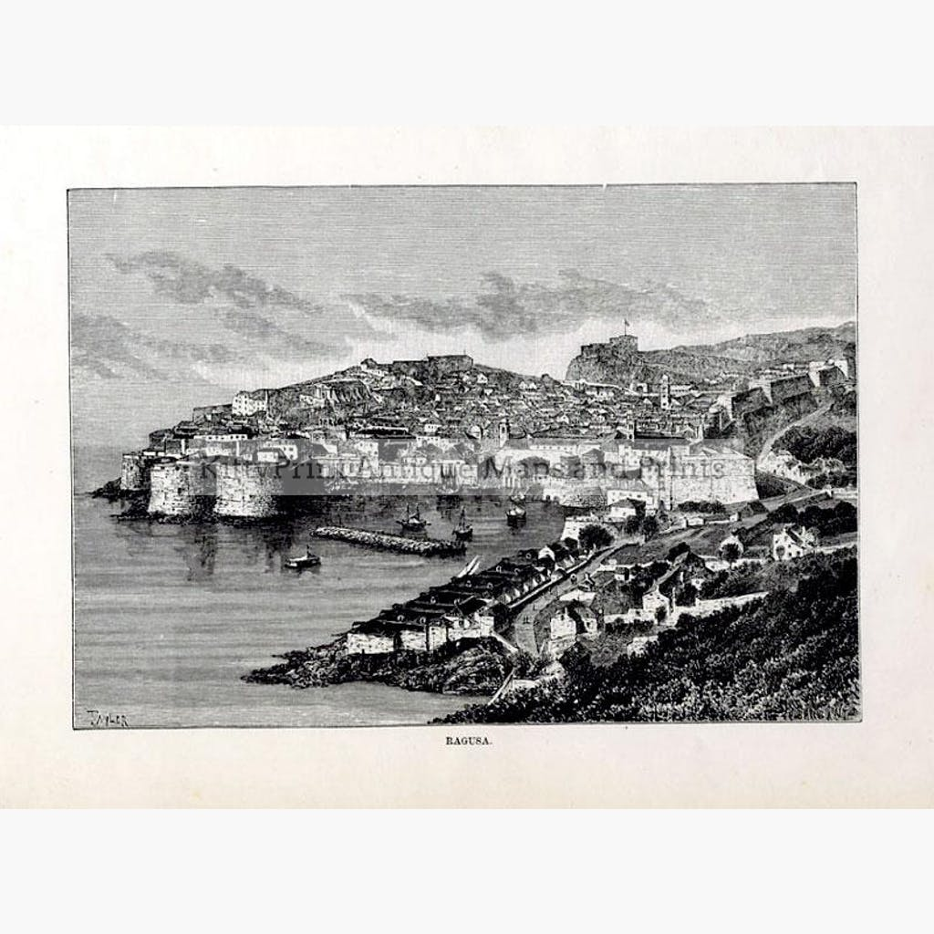 Dubrovnik Ragusa 1875 Prints KittyPrint 1800s Eastern Europe Seascapes Ports & Harbours