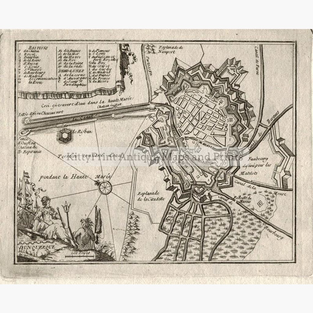 Dunkirk Dunquerque 1680 Maps KittyPrint 1600s Battles Wars & Fortifications France