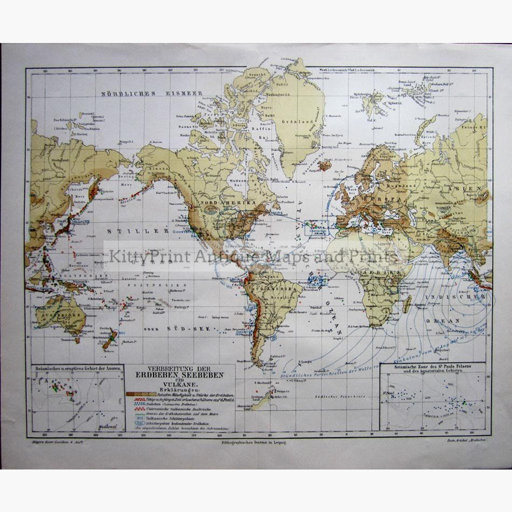Earthquakes Sea Quakes And Volcanoes KittyPrint - 1800s world map