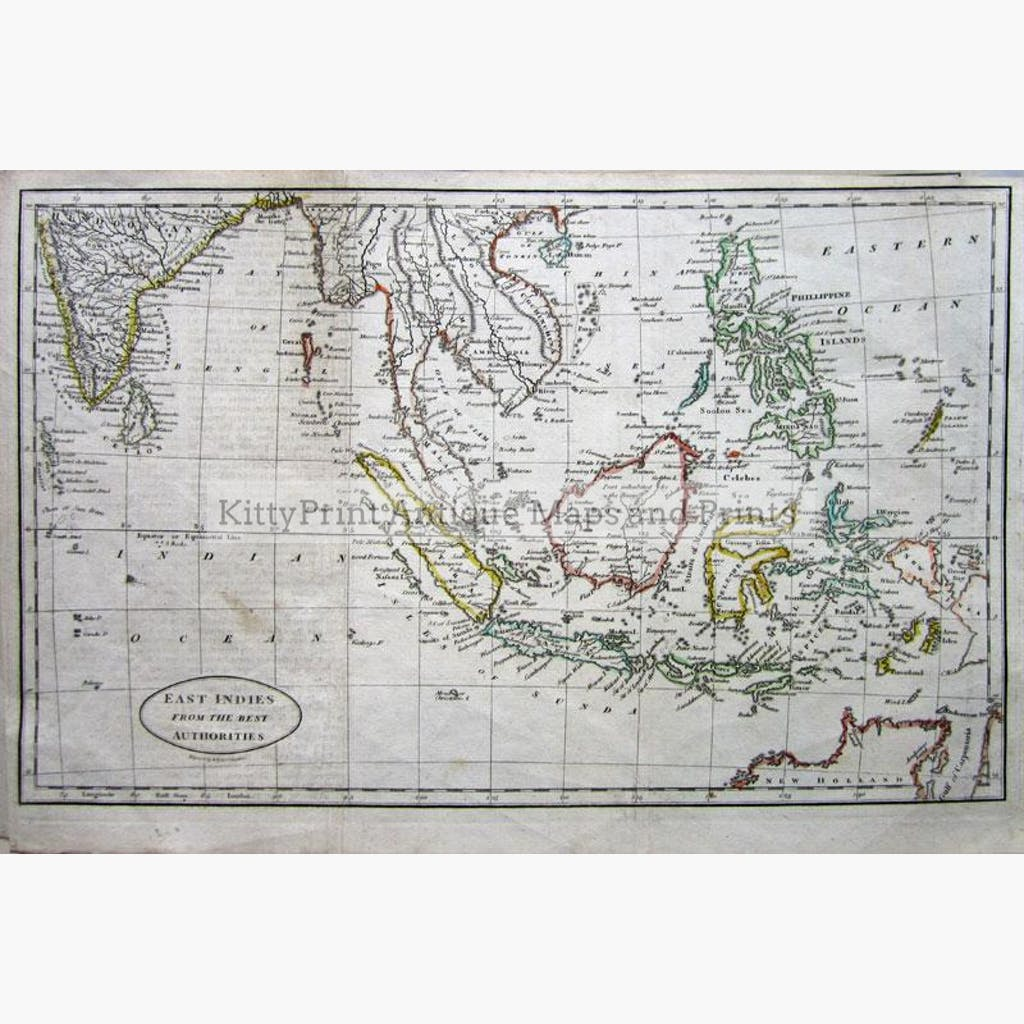 East Indies from the Best Authorities c.1802 Maps KittyPrint 1800s India & East Indies