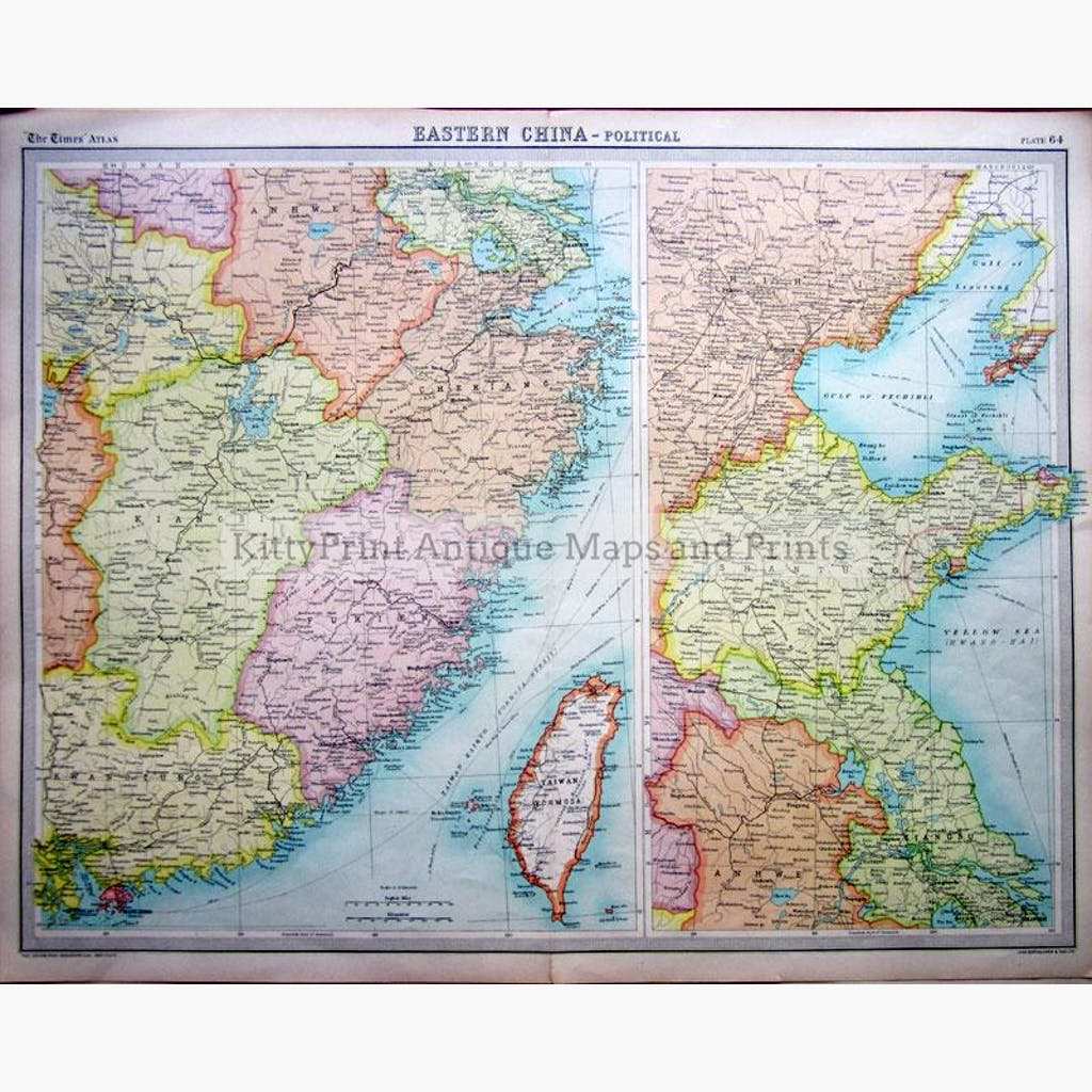 Eastern China 1922 Maps KittyPrint 1900s China Japan & Korea