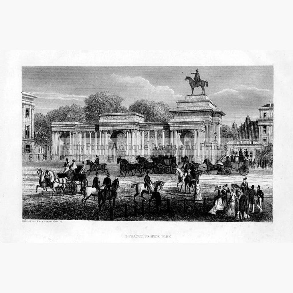 Entrance to Hyde Park 1873 Prints KittyPrint 1800s Castles & Historical Buildings England Genre Scenes