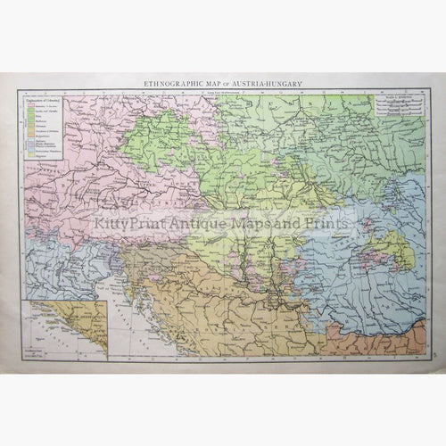 Ethnographic Map Of Austria-Hungary 1895 Prints