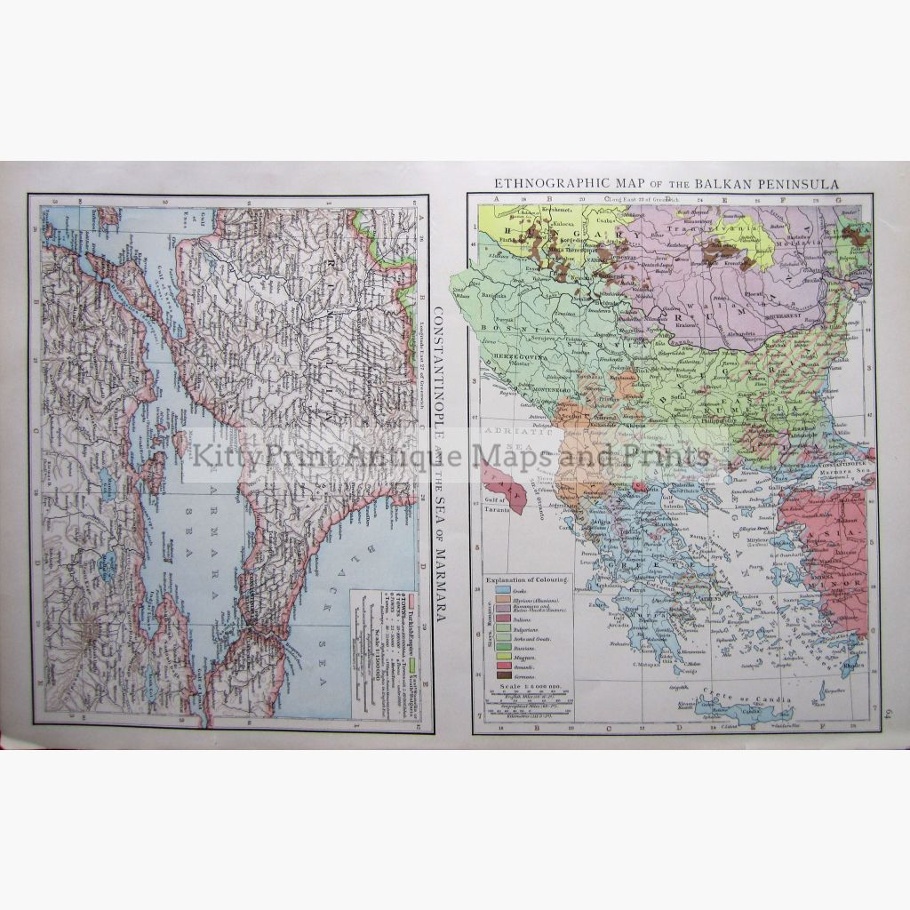 Ethnographic Map Of The Balkan Peninsula 1895 Prints