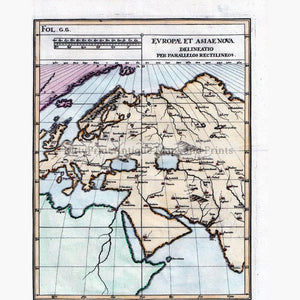 Evropae et Astae Nova Delineatio per Parailos Rectilimeos 1710 Maps KittyPrint 1700s Europe Regional Maps World Maps