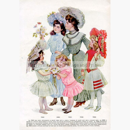 Fashion  c.1910 Prints KittyPrint 1900s Costumes & Fashion