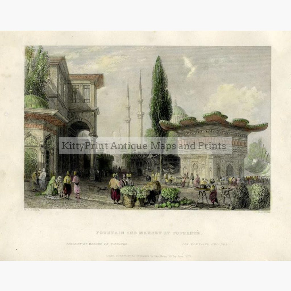 Fountain and Market at Tophanne 1839 Prints KittyPrint 1800s Castles & Historical Buildings Genre Scenes Ottoman Turkey & Persia