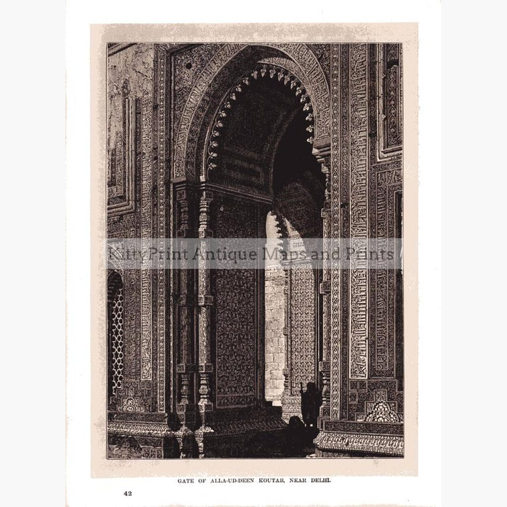 Gate of Alla-Ud-Deen Koutab Near Delhi 1880 Prints KittyPrint 1800s Castles & Historical Buildings India & East Indies