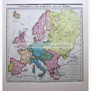 Geographical and Statistical Map of Europe 1828 Maps KittyPrint 1800s Europe Regional Maps Population Statistics