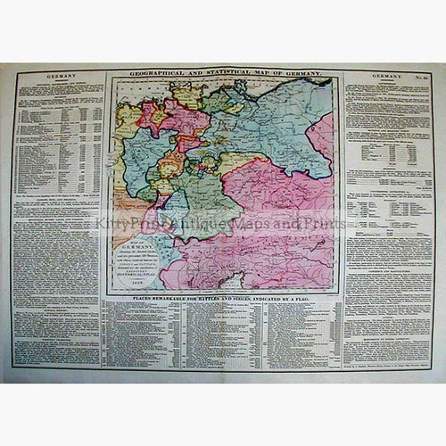 Geographical and Statistical Map of Germany 1828 Maps KittyPrint 1800s Battles Wars & Fortifications Germany Population Statistics