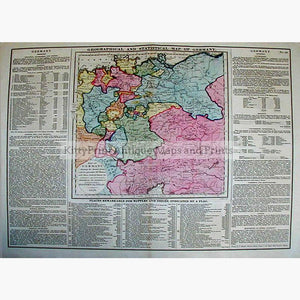 geographical and statistical map of germany 1828 maps kittyprint 1800s battles wars fortifications germany population
