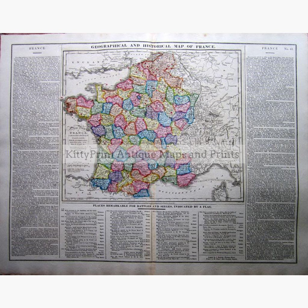 Geographical Historical and Statistical Map of France 1828 Maps KittyPrint 1800s Battles Wars & Fortifications France Population Statistics