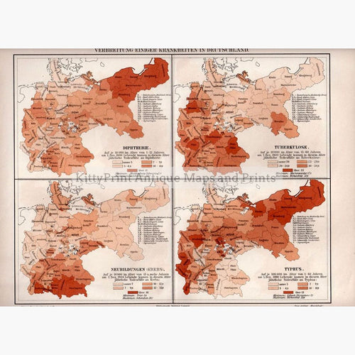 Germany Diseases Maps 1906 Maps KittyPrint 1900s Germany Population Statistics