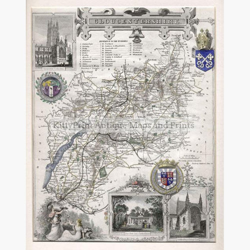 Gloucestershire by Thomas Moule 1840 Maps KittyPrint 1800s England