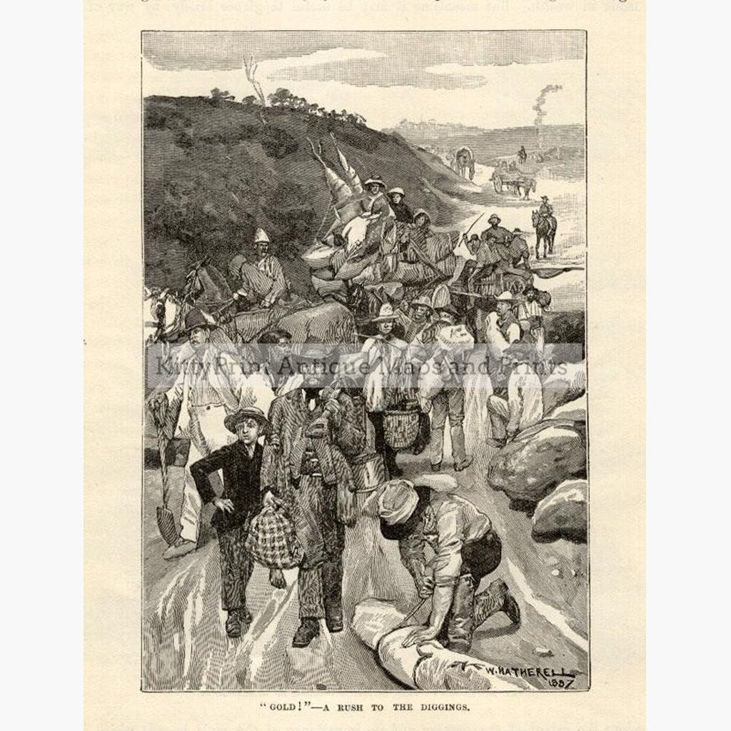 Gold ! A Rush to the Diggings c.1890. Prints KittyPrint 1800s Australia & Oceania Genre Scenes Land Use & Resources