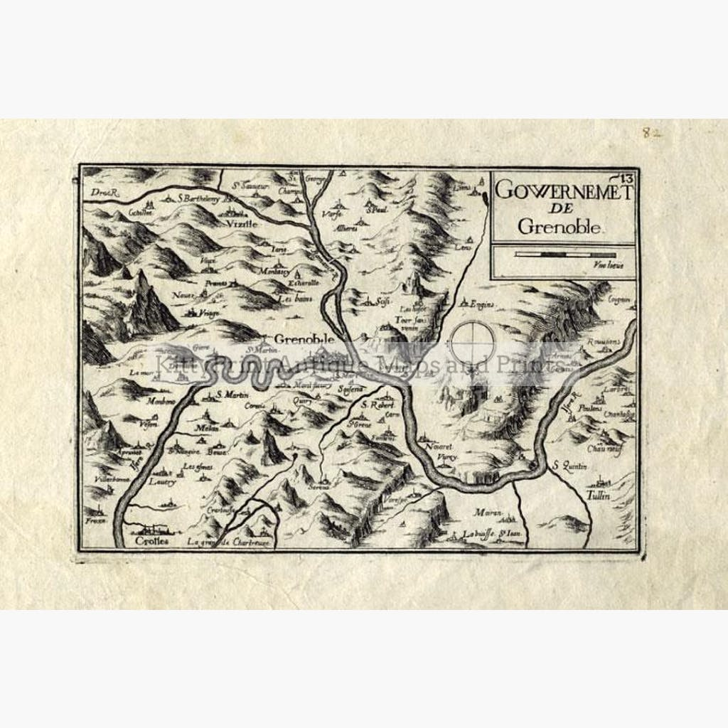 Gowernemet de Grenoble 1634 Maps KittyPrint 1600s France Town Plans