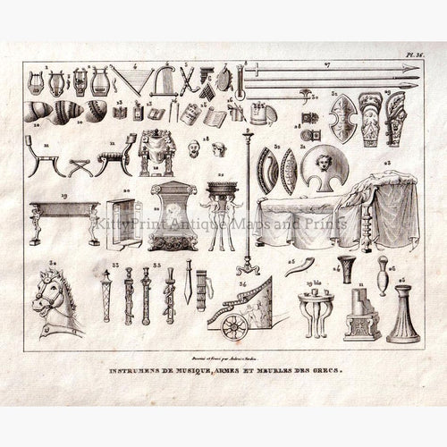 Greek Musical Instruments Weapons and Furniture 1824 Prints KittyPrint 1800s Greece