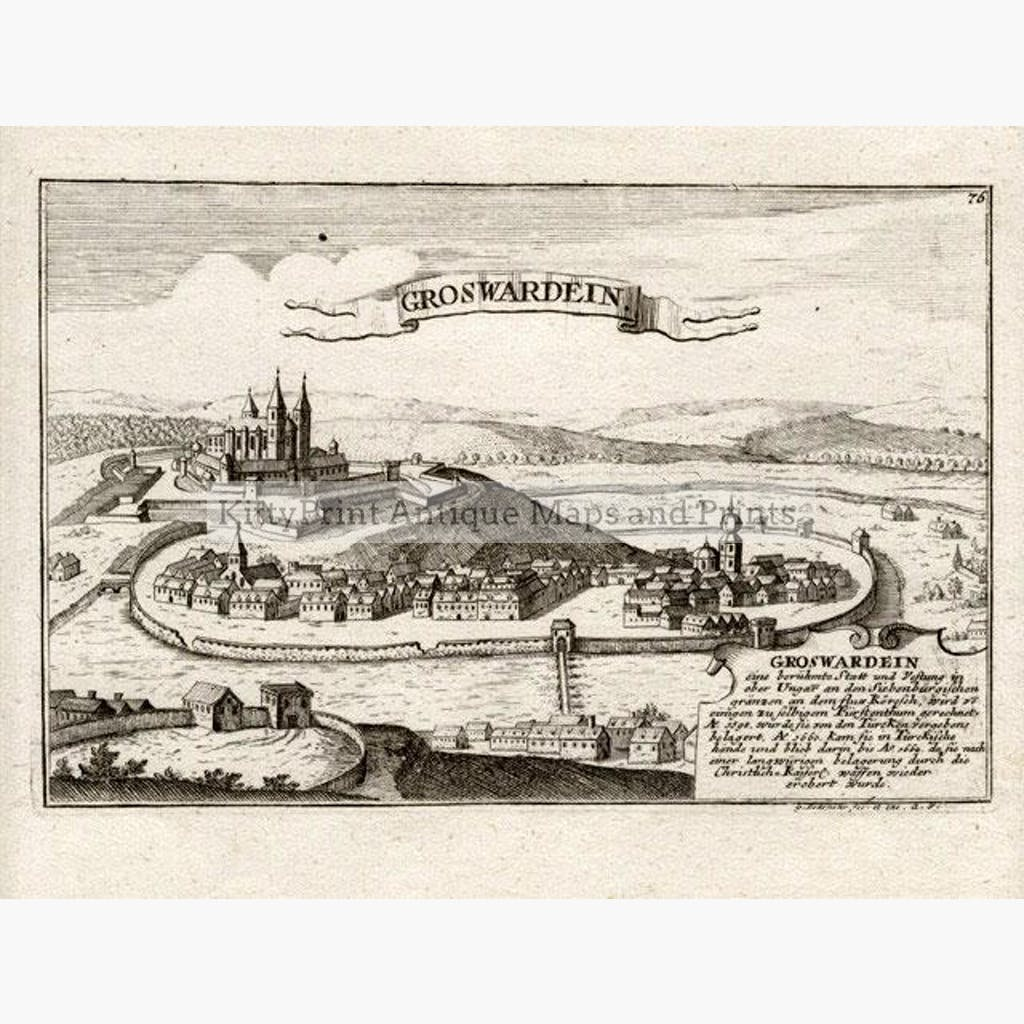 Groswardein c.1695 Maps KittyPrint 1600s Battles Wars & Fortifications Eastern Europe Town Plans