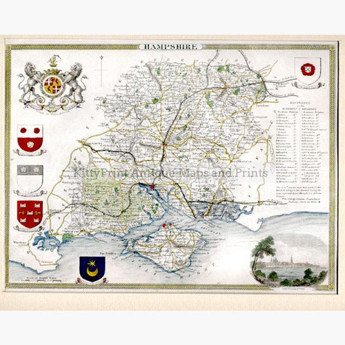 Hampshire by Thomas Moule 1840 Maps KittyPrint 1800s England