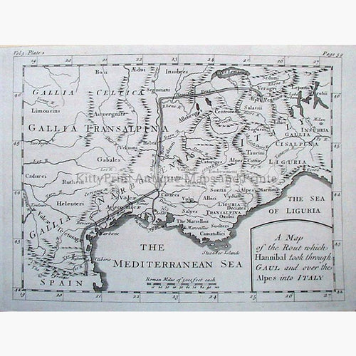 Hannibal's Route over the Alps 1760 Maps KittyPrint Historical Journeys Italy