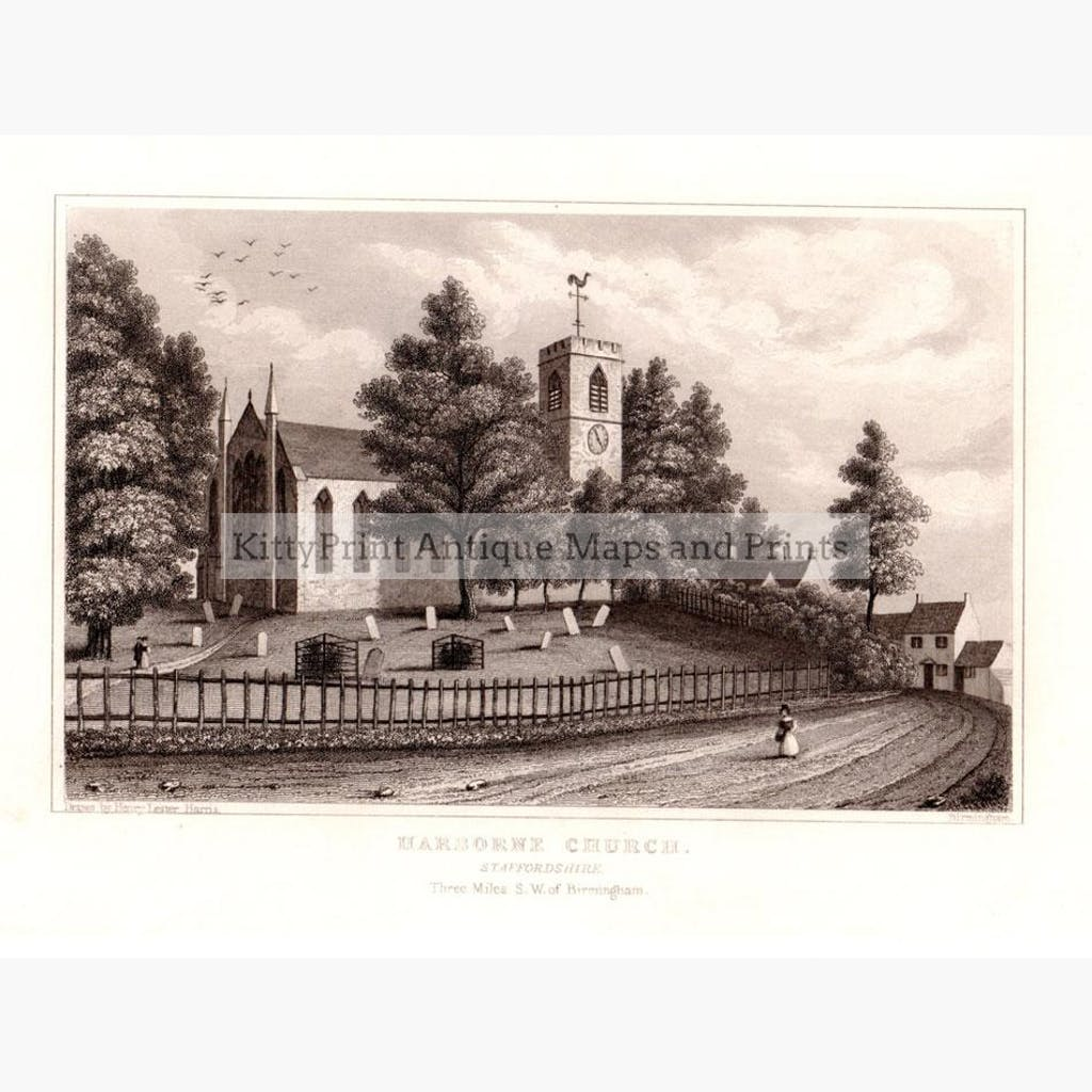 Harborne Church Staffordshire 1850 Prints KittyPrint 1800s Castles & Historical Buildings England
