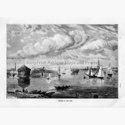 Harbour of New York 1880 Prints KittyPrint 1800s Canada & United States Seascapes Ports & Harbours