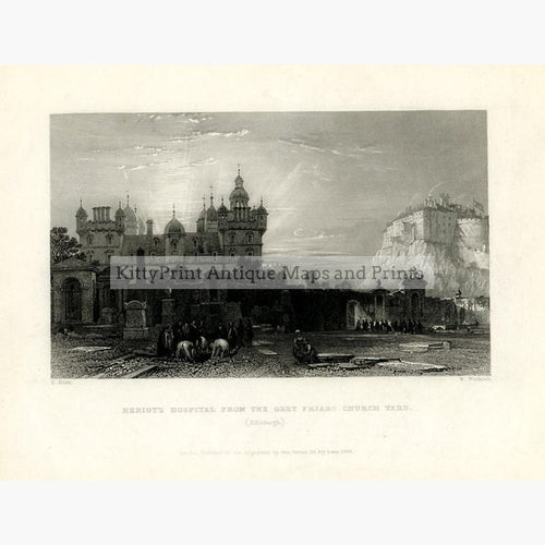 Heriot's Hospital Edinburgh 1836 Prints KittyPrint 1800s Castles & Historical Buildings Scotland