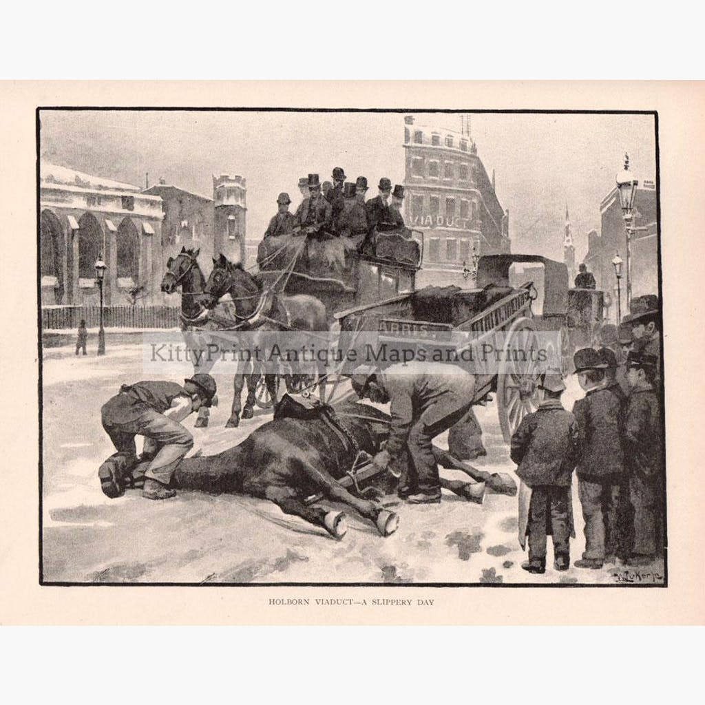 Holborn Viaduct – A Slippery Day 1891 Prints KittyPrint 1800s England Genre Scenes Horses