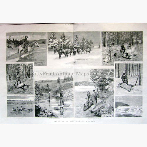 Hunting in North West Canada 1887 Prints KittyPrint 1800s Canada & United States Genre Scenes