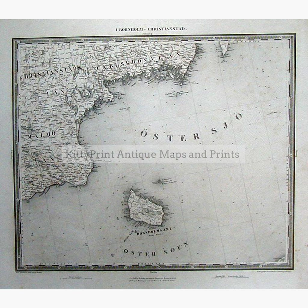 I. Bonrholm – Christianstad c.1850 Maps KittyPrint 1800s Russia Scandinavia & Nordic Countries