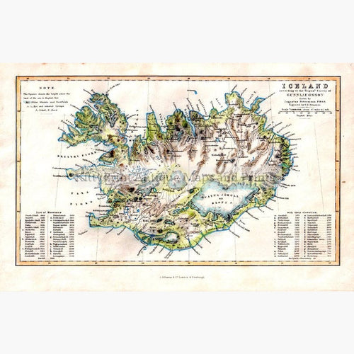 Iceland by Bjorn Gunnlaugsson 1860 Maps KittyPrint 1800s Islands Scandinavia & Nordic Countries
