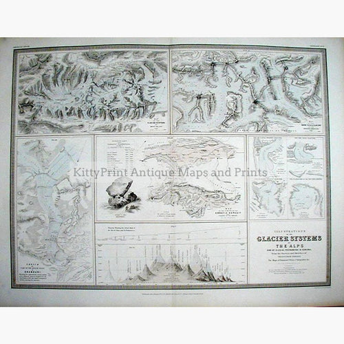 Illustrations of the Glacier Systems of the Alps 1848 Maps KittyPrint 1800s Climate Contour & Relief France Switzerland