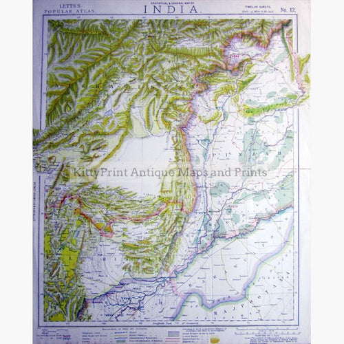 India Sind Statistical and General Map 1883 Maps KittyPrint 1800s Geology India & East Indies Population Statistics