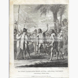 Indian Cacique addressing Columbus 1794 Prints