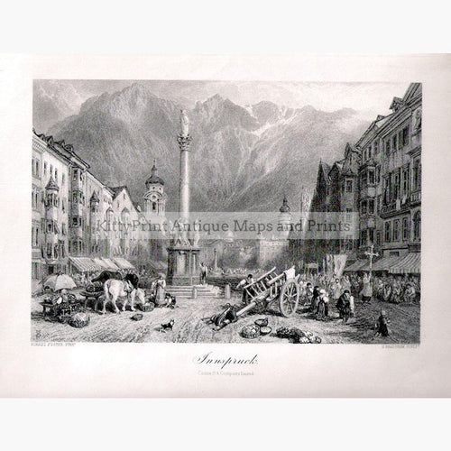 Innspruck c.1880 Prints KittyPrint 1800s Austria Genre Scenes Townscapes