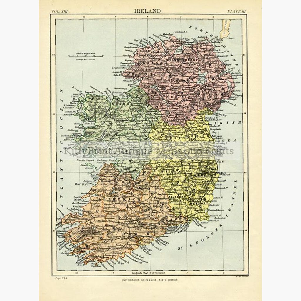 Ireland 1875 Maps KittyPrint 1800s Ireland