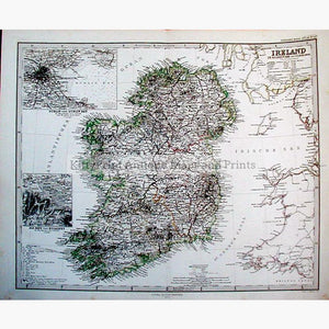 Ireland with inset of Dublin and Environs 1910 Maps KittyPrint 1900s Ireland