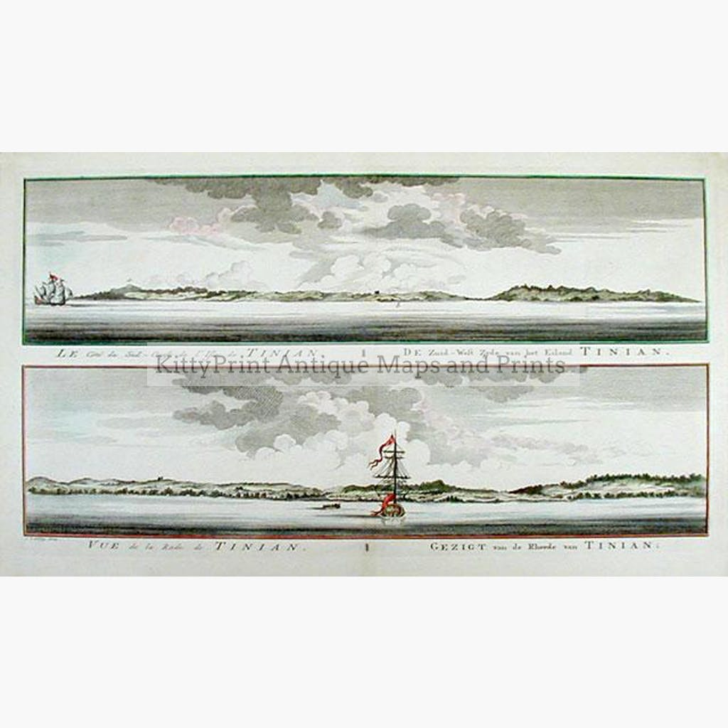 Island of Tinian 1747 Prints KittyPrint 1700s China Japan & Korea Seascapes Ports & Harbours
