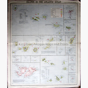 Islands in the Atlantic Ocean 1881 Maps KittyPrint 1800s Islands Sea Charts World Maps
