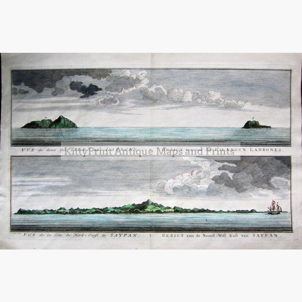 Isles of Ladrones Coast of Saypan c.1747 Prints KittyPrint 1700s China Japan & Korea Seascapes Ports & Harbours