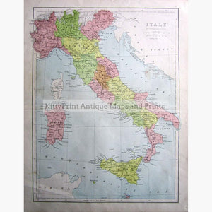 Italy,showing the Divisions 1873 Maps KittyPrint 1800s Italy