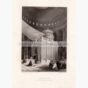 Jerusalem Interior of the Church of the Holy Sepulchre,1834 Prints KittyPrint 1800s Castles & Historical Buildings Holy Land Religion