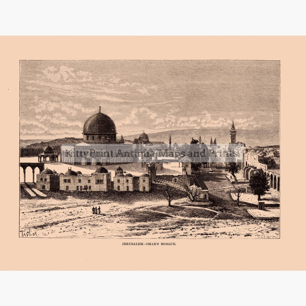 Jerusalem-Omar's Mosque c.1880 Prints KittyPrint 1800s Castles & Historical Buildings Holy Land Religion Townscapes