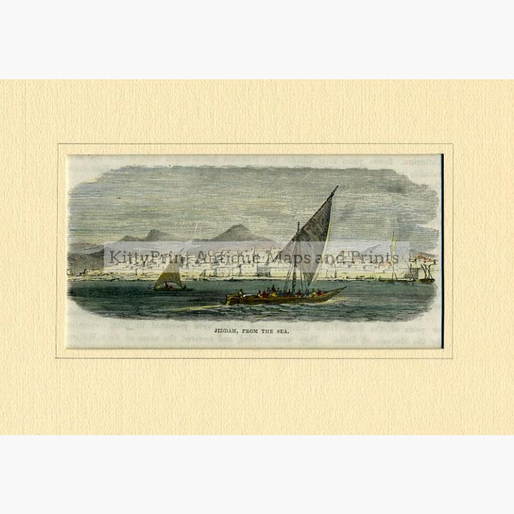 Jiddah (Jeddah) from the Sea c.1880 Prints KittyPrint 1800s Arabia & Egypt Townscapes