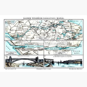 Kaiser Wilhelm Nordostsee Kanal 1906 Maps KittyPrint 1900s Germany Road Rail & Engineering
