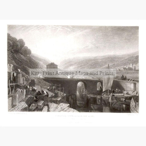Kirkstall Lock on the River Aire 1827 Prints KittyPrint 1800s Engineering England Genre Scenes