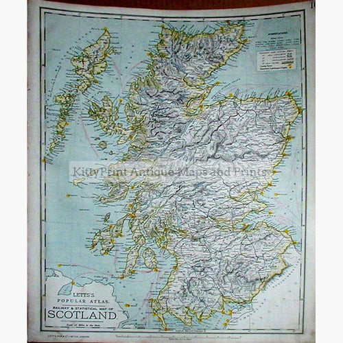 Letts's Railway and Statistical Map of Scotland 1886 Maps KittyPrint 1800s Road Rail & Engineering Scotland