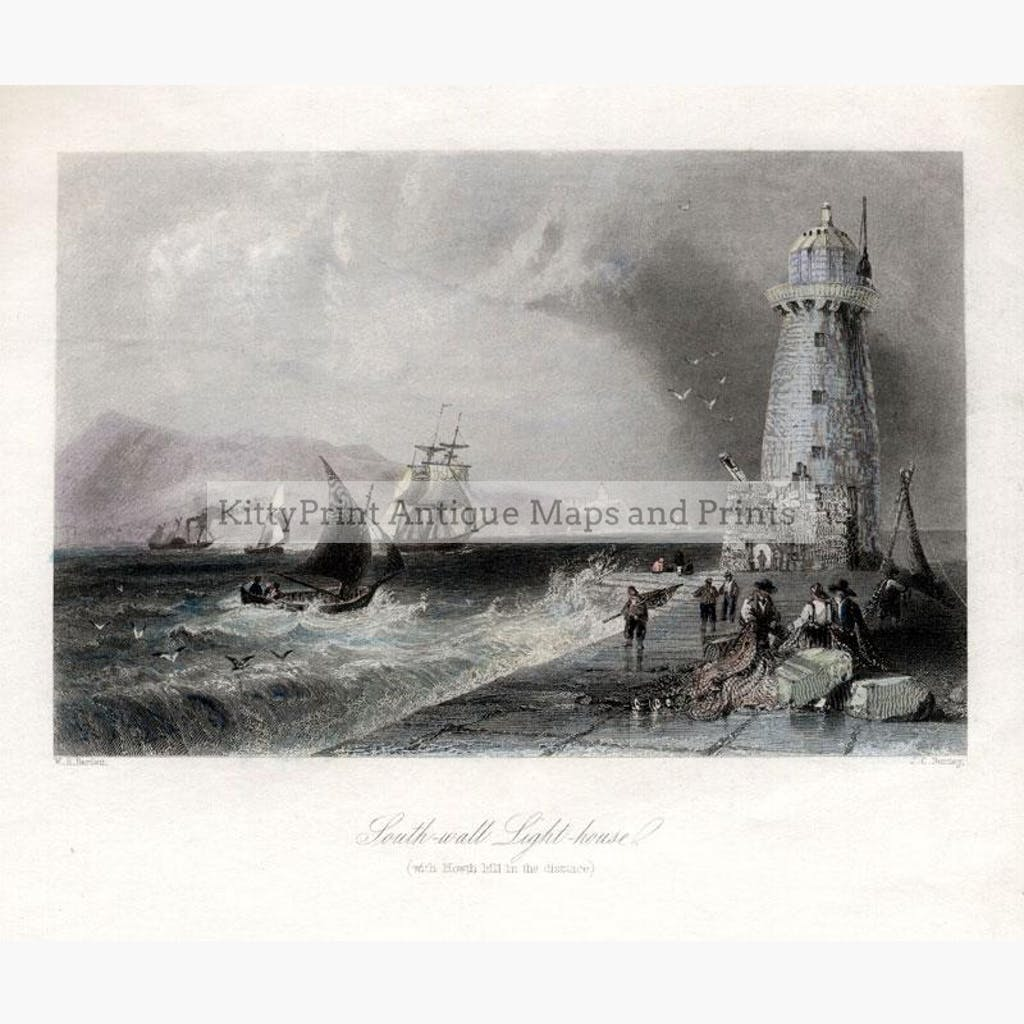 Light-house Howth 1842 Prints KittyPrint 1800s Genre Scenes Ireland Seascapes Ports & Harbours